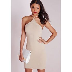 Missguided Ribbed Halter Dress in Camel